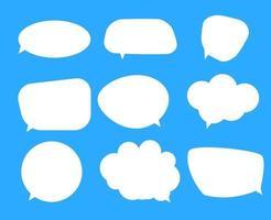 White blank speech bubbles, thinking balloon set on blue background. Vector Illustratio