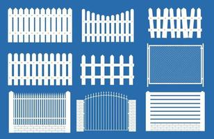 Collection Set of fences, pickets silhouettes for garden background. Vector Illustration