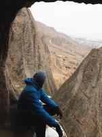 Tourist in Cappadocia in winter photo