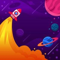 Rocket Ship Fly to the Outer Space vector