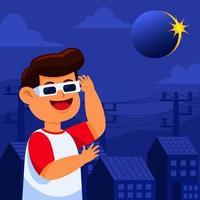 niño mira el eclipse solar vector