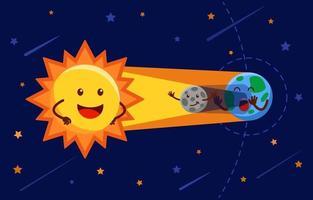 infografía de dibujos animados ff eclipse solar vector