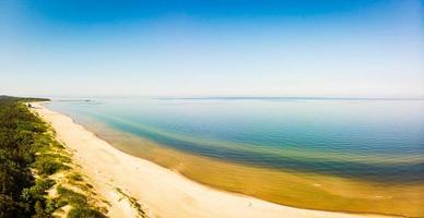 Aerial view of Palanga sandy white beach in Lithuania photo