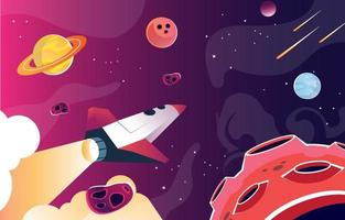 Spaceship Fly over the Outer Space vector