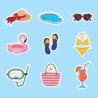 Summer Swimming Sticker Set vector