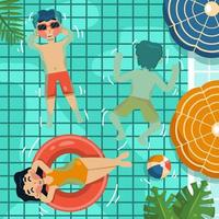 Summer Swimming Top View vector