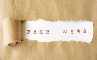 Words Fake News written under torn paper photo