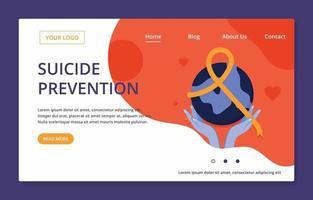 página de inicio de prevención del suicidio mundial vector