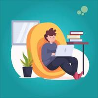 man working at home vector ilustration