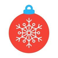 Christmas tree ball with snowflake icon sign flat style design vector illustration. Christmas bauble decoration isolated on white background. Symbol of New Year, Xmas celebration.