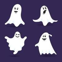4 cute ghost characters flat style design vector illustration set isolated on dark background. Halloween boo spooky symbol flying above the ground.