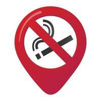 No smoking area marker map pin icon sign with flat design gradient styled cigarette in the prohibited forbidden red circle. Symbol of the no smoking area in the map apps isolated on white background vector