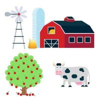 Landscape scene elements with black white spotted cow stand with grass mouth, red barn, silo, haystack and fruit tree set flat style vector illustration isolated on white background.