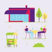 Male and female couple sitting outside  next to cafe or coffee shop building and eating, drinking, reading menu. Abstract minimal flat style design vector illustration, concept of summer leisure