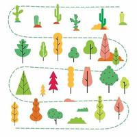 Plants and trees flat style abstract minimal set. Simmple design version of plants in the forest, garden or desert scene creator vector illustration isplated on white background