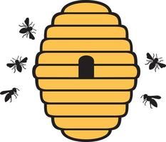Bees and beehive vector