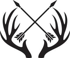Deer Skull with Horns and Crossed Arrows vector