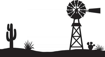 paisaje desértico con molino de viento de bombeo de agua vector