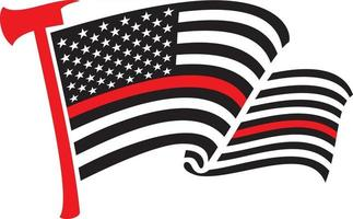 United States of America Thin Red Line Flag with Axe vector
