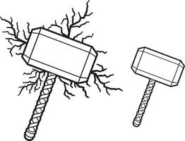 Hammer of Thor and Lightning Bolts vector