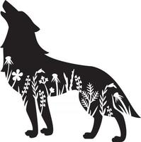 Floral Wolf Wildlife vector
