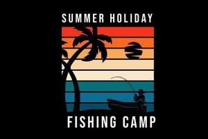 summer fishing on the beach silhouette vector