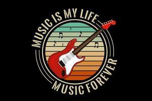 la música es mi diseño de silueta de vida con fondo retro vector
