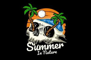 summer nature  illustration design with skull vector