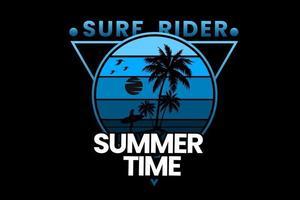 diseño de silueta de horario de verano de surf rider vector