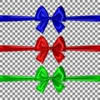 Set of blue, red and green bows isolated on transparent background. Vector illustration
