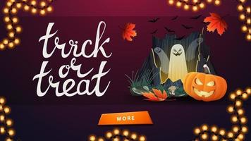 Trick or treat, greeting banner with old wooden sign with attached pumpkin Jack. Minimalistic design of greeting card vector