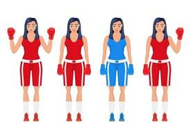 Ilustración de diseño de vector de mujer de boxeo aislado sobre fondo blanco
