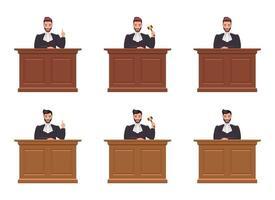 juez, hombre, vector, diseño, ilustración, aislado, blanco, plano de fondo vector
