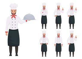 Ilustración de diseño de vector de chef hombre aislado sobre fondo blanco