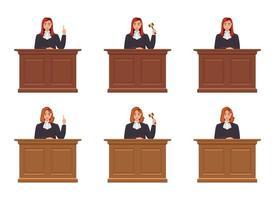 juez, mujer, vector, diseño, ilustración, aislado, blanco, plano de fondo vector