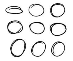 Hand drawn circle line sketch. Vector set circular scribble doodle round circles,  message note mark design element. Pencil, pen, graffiti bubble, ball draft illustration. - Vector