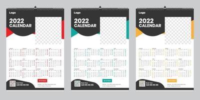 Free Single Page Wall Calendar 2022 Template Design Idea vector