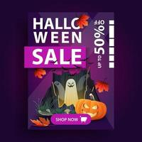 Halloween sale, creative vertical purple banner with autumn leafs, button, portal with ghosts and pumpkin Jack vector