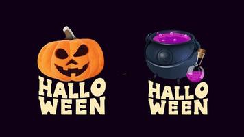 Set Halloween logo with pumpkin and witches cauldron vector