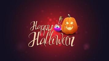 Happy Halloween, postcard with beautiful lettering, pumpkin Jack and witch's potion vector