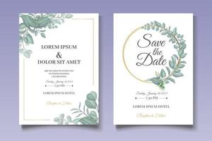Hand Drawn Greenery Floral Wedding Invitation vector