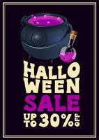 venta de halloween, hasta 30 de descuento, cartel de estilo tipográfico vertical de descuento con caldero de bruja con poción vector