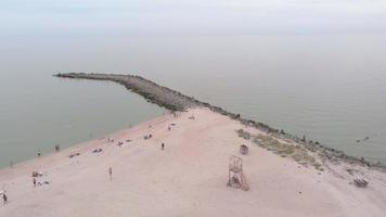 Stone spit in the sea Aerial shot video