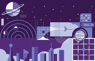 Futuristic Buildings in Space Concept vector