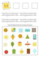 Learning basic geometric form for children. Find square objects. vector