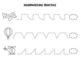 Tracing lines with black and white air transport. Writing practice. vector