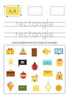 Learning basic geometric form for children. Find rectangular objects. vector