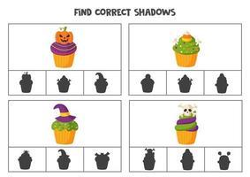 Find the correct shadows of cartoon Halloween cupcakes. Clip cards for preschool kids. vector