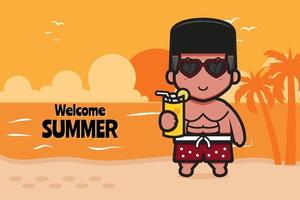 Cute boy holding orange juice with a summer greeting banner cartoon vector icon illustration