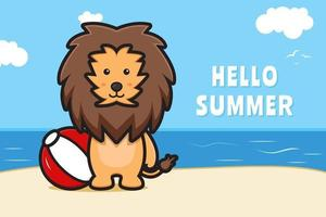 Cute lion holding ball with a summer greeting banner cartoon vector icon illustration
